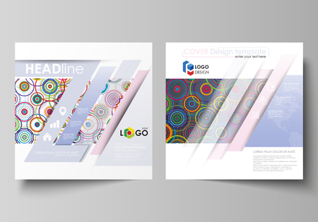 magazine design: Business templates for square design brochure, magazine, flyer, booklet, report. Leaflet cover, abstract flat layout. Bright color background in minimalist style made from colorful circles.