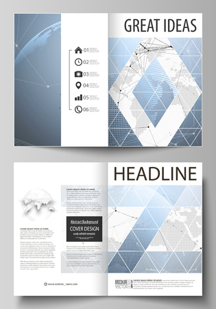 magazine design: The vector illustration of the editable layout of two A4 format modern cover mockups design templates for brochure, magazine, flyer. World globe on blue. Global network connections, lines and dots. Illustration