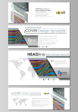 website header: Social media and email headers set, modern banners. Abstract design business templates, vector layouts. Bright color lines, colorful style with geometric shapes, beautiful minimalist background. Illustration