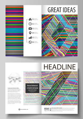 Business templates for bi fold brochure, flyer, report. Cover design template, abstract vector layout in A4 size. Bright color lines, colorful style, geometric shapes, beautiful minimalist background.