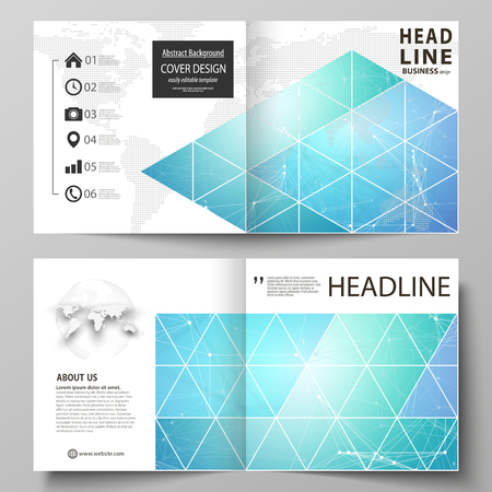 Business templates for square design bi fold brochure, flyer. Leaflet cover, vector layout. Chemistry pattern, connecting lines and dots, molecule structure, medical DNA research. Medicine concept Illustration
