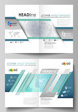 commercial medicine: The vector illustration of the editable layout of two A4 format modern cover mockups design templates for brochure, flyer, report. Chemistry pattern. Molecule structure. Medical, science background.