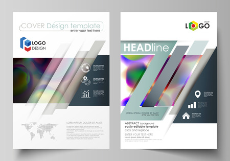 commercial medicine: Business templates for brochure, magazine, flyer, booklet or annual report. Cover template, flat vector layout in A4 size. Colorful design background with abstract shapes, bright cell backdrop.