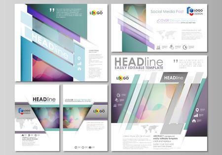 Postes de médias sociaux ensemble. Modèles d'affaires Modèle de style plat, mises en page vectorielles dans des formats populaires. Motif de couleurs vives, design coloré avec des formes qui se chevauchent formant beau fond abstrait.