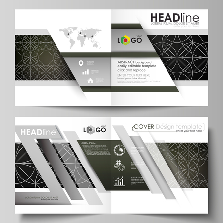 gaelic: Business templates for square design bi fold brochure, magazine, flyer, booklet. Leaflet cover, vector layout. Celtic pattern. Abstract ornament, geometric vintage texture, medieval ethnic style.