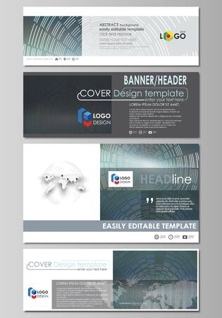 website header: Social media and email headers set, modern banners. Business templates. Abstract design template, vector layouts in popular sizes. Technology background in geometric style made from circles.