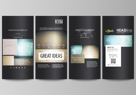 commercial medicine: The black colored minimalistic vector illustration of the editable layout of four vertical banners, flyers design business templates. Chemistry pattern with molecule structure. Medical DNA research.
