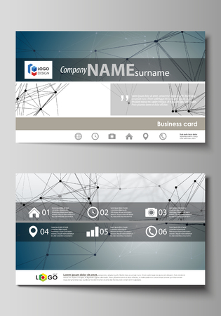 Business card templates. Easy editable layout, abstract vector design template. DNA and neurons molecule structure. Medicine, science, technology concept. Scalable graphic Illustration