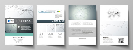 Business templates for brochure, magazine, flyer, booklet or annual report. Cover design template, easy editable vector, abstract flat layout in A4 size. Genetic and chemical compounds. Atom, DNA and neurons. Medicine, chemistry, science or technology con