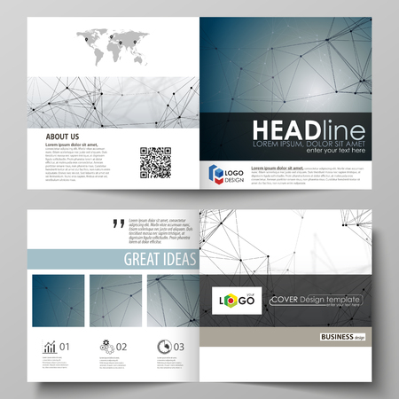 Business templates for square design bi fold brochure, flyer, booklet, report. Leaflet cover, vector layout. DNA and neurons molecule structure. Medicine, science, technology concept. Scalable graphic Illustration