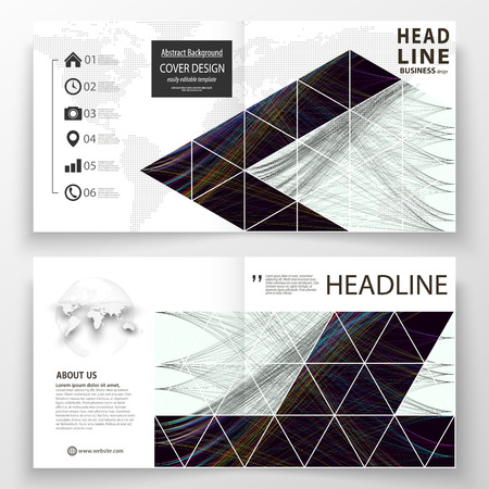 Business templates for square bi fold brochure, magazine, flyer, booklet. Leaflet cover, flat layout, easy editable vector. Abstract waves, lines, curves. Dark color background Motion design 向量圖像