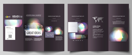 minimalistic: Tri-fold brochure business templates on both sides. Easy editable abstract vector layout in flat design. Retro style, mystical Sci-Fi background. Futuristic trendy design.