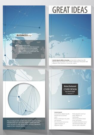 minimalistic: The vector illustration of the editable layout of four A4 format covers with the circle design templates for brochure, magazine, flyer. Polygonal geometric linear texture. Global network, dig data concept.