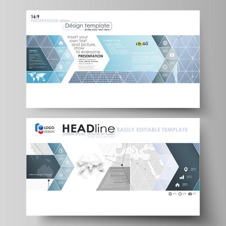 La ilustración del vector abstracto minimalista del diseño editable de diapositivas de presentación de alta definición diseñan plantillas de negocios. Globo del mundo en azul. Conexiones de red global, líneas y puntos Ilustración de vector