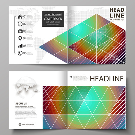 Business templates for square bi fold brochure, flyer. Leaflet cover, abstract vector layout. Minimalistic design with circles, diagonal lines. Geometric shapes forming retro background Illustration