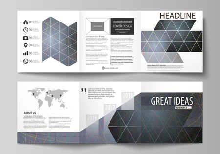 blank magazine: Business templates for tri fold square design brochures. Leaflet cover. Colorful dark background with abstract lines. Bright color chaotic, random, messy curves. Colourful vector layout Illustration