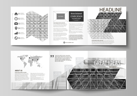 blank magazine: Business templates for tri fold square design brochures. Leaflet cover, vector layout. Abstract infinity background, 3d structure with rectangles forming illusion of depth and perspective Illustration