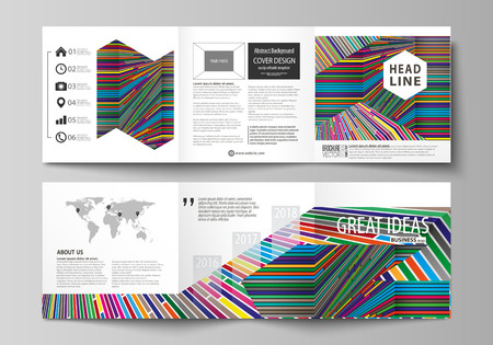 blank magazine: Set of business templates for tri fold square design brochures. Leaflet cover, abstract vector layout. Bright color lines, colorful style with geometric shapes forming beautiful minimalist background Illustration