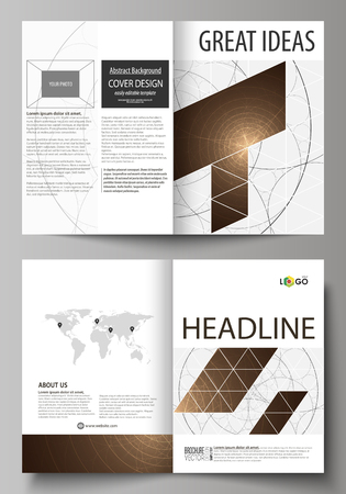 blank magazine: Business templates for bi fold brochure, magazine, flyer, booklet or annual report. Cover design template, abstract vector layout in A4 size. Alchemical theme. Fractal art background. Sacred geometry