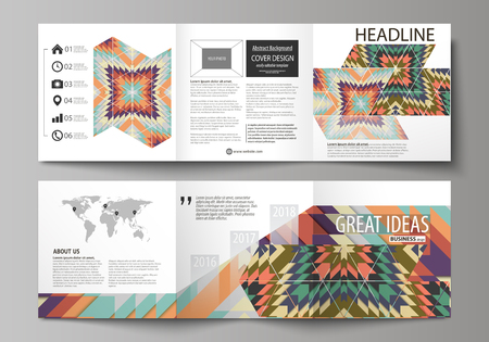 african business: Set of business templates for tri fold square design brochures. Leaflet cover, abstract vector layout. Tribal pattern, geometrical ornament in ethno syle, ethnic backdrop, vintage fashion background
