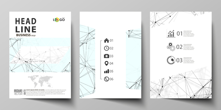 blank magazine: Business templates for brochure, flyer, booklet, report. Cover design template, vector layout in A4 size. Chemistry pattern, connecting lines and dots, molecule structure on white, graphic background
