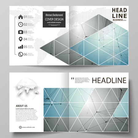 Business templates for square design bi fold brochure, flyer, booklet or annual report. Leaflet cover, abstract vector layout. Geometric background. Molecular structure. Medical, technology concept