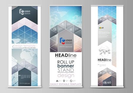 The minimalistic vector illustration of the editable layout of roll up banner stands, vertical flyers, flags design business templates. Polygonal geometric linear texture. Global network, dig data concept. Illustration