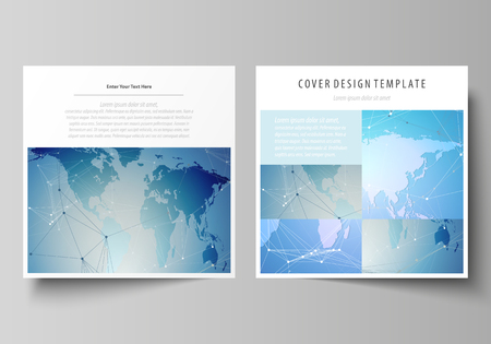 The minimalistic vector illustration of the editable layout of two square format covers design templates for brochure, flyer, booklet. World map on blue, geometric technology design, polygonal texture.