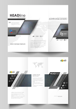 Tri-fold brochure business templates on both sides. Easy editable vector layout in flat design. Dark background with abstract lines. Bright color chaotic, random, messy curves. Colourful decoration.
