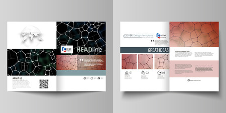 Business templates for bi fold brochure, flyer. Cover design template, vector layout in A4 size. Chemistry pattern, molecular texture, polygonal molecule structure, cell. Medicine microbiology concept