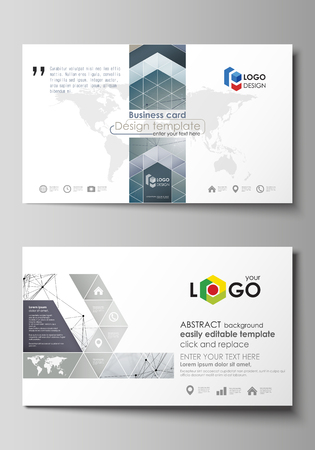 Business card templates. Easy editable layout, abstract vector design template. DNA and neurons molecule structure. Medicine, science, technology concept. Scalable graphic.