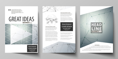Business templates for brochure, magazine, flyer. Cover design template, vector layout in A4 size. Genetic and chemical compounds. DNA and neurons. Science technology concept. Geometric background.