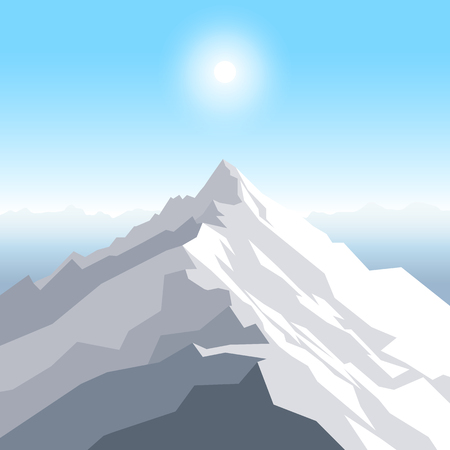 A midday sun over the mountains. Landscape with peak. Mountaineering and traveling and outdoor recreation concept. Abstract background for web, presentations or prints. Vector illustration. Ilustração
