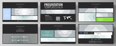 Business templates in HD format for presentation slides. Abstract vector layouts in flat design. Minimalistic background with lines. Gray color geometric shapes forming simple beautiful pattern. Illustration