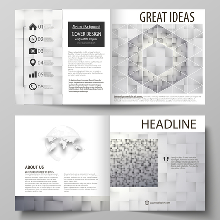 Business templates for square design bi fold brochure, magazine, flyer, booklet, report. Leaflet cover, abstract vector layout. Pattern made from squares, gray background in geometrical style.