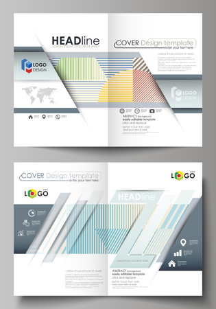 Business templates for bi fold brochure, magazine, flyer, booklet or annual report. Cover design template, easy editable vector, abstract flat layout in A4 size. Minimalistic design with lines, geometric shapes forming beautiful background. Vectores