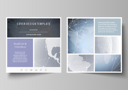 The minimalistic vector illustration of the editable layout of two square format covers design templates for brochure, flyer, magazine. Abstract futuristic network shapes. High tech background.