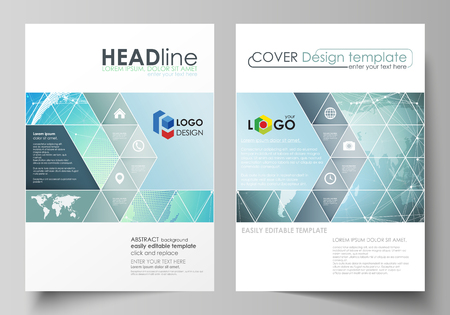 The vector illustration of the editable layout of two A4 format covers with triangles design templates for brochure, flyer, booklet. Chemistry pattern, molecule structure, geometric design background. Иллюстрация