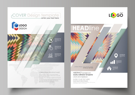 Business templates for brochure, magazine, flyer, booklet or annual report. Cover design template, easy editable vector, abstract flat layout in A4 size. Tribal pattern, geometrical ornament in ethno syle, ethnic hipster backdrop, vintage fashion background.