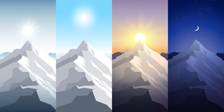 Nature mountain set. A midday sun, dawn, sunset, night in the mountains. Landscapes with peak. Mountaineering, traveling, outdoor recreation concept. Abstract vector backgrounds for web, prints etc. Reklamní fotografie - 92470125