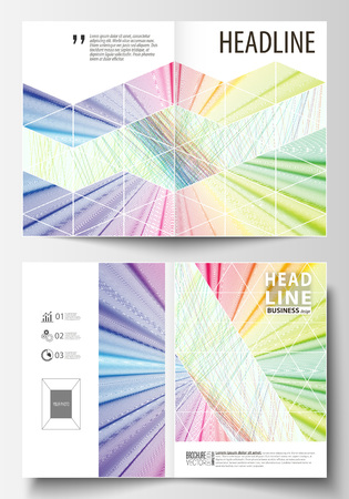 Business templates for bi fold brochure, magazine, flyer. Cover template, easy editable vector, flat layout in A4 size. Colorful background with abstract waves, lines. Bright color curves. Motion design.