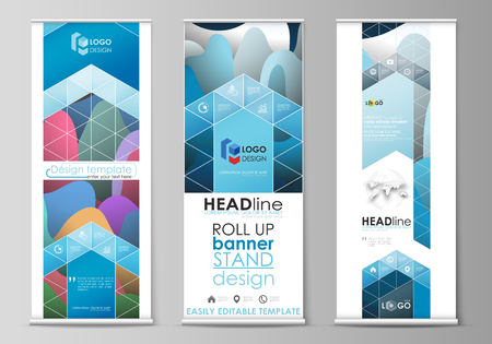 Set of roll up banner stands, flat design templates, abstract geometric style, modern business concept, corporate vertical vector flyers, flag banner layouts. Bright color pattern, colorful design with overlapping shapes forming abstract beautiful background. Illustration
