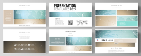The minimalistic abstract vector illustration of the editable layout of high definition presentation slides design business templates. Chemistry pattern with molecule structure. Medical DNA research Иллюстрация