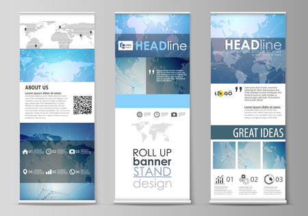 The minimalist vector illustration of editable layout of roll up banner stands, vertical flyers, flags design business templates. World map on blue, geometric technology design, polygonal texture.