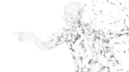 Hombre abstracto conceptual tocar o señalar algo. Líneas conectadas, puntos, triángulos, partículas sobre fondo blanco. Concepto de inteligencia artificial. Fondo digital de alta tecnología vector