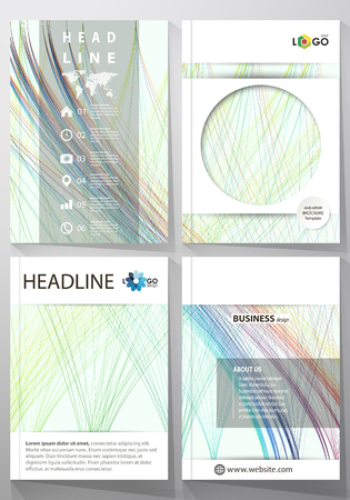 Business templates for brochure, magazine and booklet. Cover template, easy editable vector, flat layout. Colorful background, abstract waves, lines. Bright color curves. Motion design.