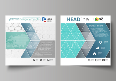 Business templates for square design brochure, report. Leaflet cover, abstract vector layout. Chemistry pattern, hexagonal molecule structure on blue. Medicine, science, technology concept.