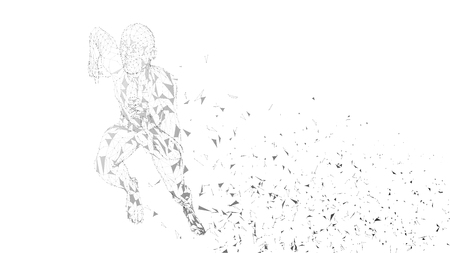 Conceptual abstract running man. Runner with connected lines, dots, triangles. Artificial intelligence, digital sport concept. Illustration