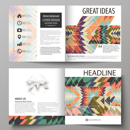 Business templates for square design bi fold brochure, magazine, flyer, booklet. Leaflet cover, abstract vector layout. Tribal pattern, geometrical ornament in ethnic style, vintage fashion background. Illustration