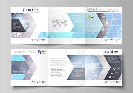 The minimalistic vector illustration of editable layout. Two modern creative covers design templates for square brochure or flyer. Polygonal texture. Global connections, futuristic geometric concept.
